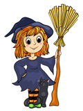 Cute little witch with a cat and broom Royalty Free Stock Photo
