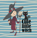 Cute little witch and cat. Character and cartoon Royalty Free Stock Images