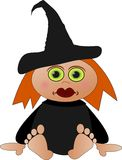 Cute little witch. Clipart cute little witch sitting Royalty Free Stock Photo