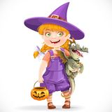 Cute little witch with a dragon under his arm and a pumpkin Royalty Free Stock Image