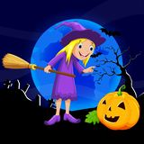 Cute little witch flying on a broomstick in front of the full moonlight. Vector illustration of cute little witch flying on a broomstick in front of the full Royalty Free Stock Photo