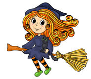 Cute little witch flying Stock Photo