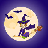 Cute little witch flying Royalty Free Stock Image