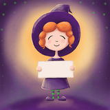 Cute little witch in the full moon Royalty Free Stock Images