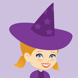 Halloween Costume Young Girl Witch Stock Photos