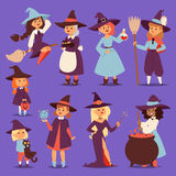 Cute little witch hag harridan vixen with broom cartoon cat for print on bag magic Halloween card fantasy young girls Stock Photos