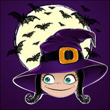 Cute little witch. Halloween card. Stock Image