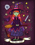 Cute Little Witch Halloween Illustration  Royalty Free Stock Image