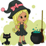Cute little witch. With her black kitten, poison and broom Stock Photography