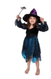 Cute little witch isolated on white Royalty Free Stock Photo
