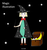 Cute little witch with a magic wand in a hat and cloak with stars, the chest with the stars and the moon, black background Royalty Free Stock Photography