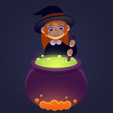 Cute little witch. Little witch stirring potion in cauldron. Young girl in witch costume, cute cartoon Halloween illustration Stock Photo