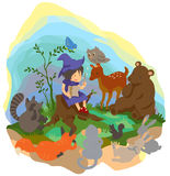 A cute little witch is teaching magic to animals i. N the wood, create by vector Royalty Free Stock Image