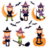 Cute little witches set Royalty Free Stock Image