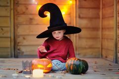 Cute little wizard with jack-o-lanterns halloween decorations Royalty Free Stock Images