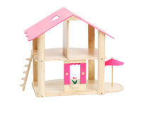 Cute little wooden dollhouse Stock Images
