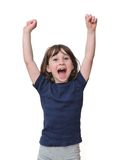 Cute little years girl raises her hands isolated Royalty Free Stock Images