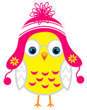 Cute little yellow cartoon baby chicken isolated on a white back Royalty Free Stock Photos