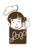 Cute Little Young Boy Chef  Logo. In good sign Stock Photography