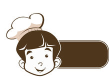 Cute Little Young Boy Chef  Logo in good sign. Cute Little Young Boy Chef  Cafe Logo Stock Photography