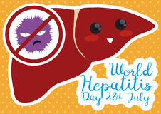 Cute Liver in Flat Style Saying NO to Hepatitis Virus, Vector Illustration. Liver with cute face saying NO to Hepatitis, commemorating the date against this Royalty Free Stock Photography