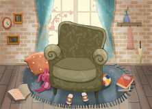 Cute Living Room. Video Game`s Digital CG Artwork, Concept Illustration, Realistic Cartoon Style Background Royalty Free Stock Photo