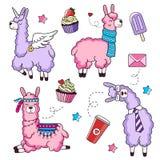 Cute llama characters set with doodles. Unicorn llama. Business