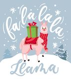 Cute llama Christmas card with lettering inscription vector illustration