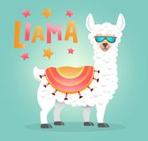 Cute Llama with glasses cartoon poster with lettering. Alpaca Vector Illustration design for cards, posters, t-shirts, birthday. Cute Llama with glasses cartoon stock illustration