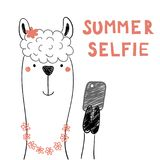 Cute llama with a smart phone. Hand drawn portrait of a cute funny llama in flower chain with a smart phone, taking selfie. Isolated objects on white background Stock Image