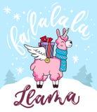 Cute llama unicorn Christmas greeting card with lettering inscription 'Fa la la la llama' and doodles. New Year greeting card. vector illustration