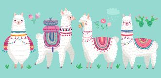 Free Cute Llamas. Funny Hand Drawn Alpaca Characters Royalty Free Stock Images - 182143259