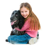 Cute llittle with black cocker spaniel Royalty Free Stock Image