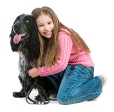 Cute llittle with black cocker spaniel Royalty Free Stock Photo