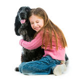Cute llittle with black cocker spaniel Stock Image