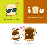 A cute loaf and a chocolate Jam. Isolated vector illustration for valentine`s day