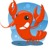 Cute lobster cartoon. Lobster crustacean sea food shellfish shrimp,  illustration cartoon Stock Photo