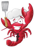 Cute Lobster Chef Character holding a Spatula. Royalty Free Stock Images