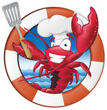 Cute Lobster Chef Character in Nautical Themed Frame. Royalty Free Stock Images