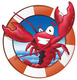Cute Lobster Chef Character in Nautical Themed Frame. Royalty Free Stock Photography