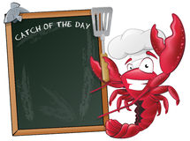 Cute Lobster Chef with Sign Board. Royalty Free Stock Photography