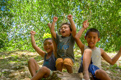 Cute local boys in Cahal Pech, Belize Stock Image