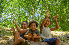 Cute local boys in Cahal Pech, Belize Stock Photo