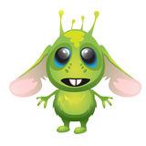 Cute long-eared green alien, vector character Stock Image