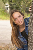 Cute long-haired teen girl portrait outdoors. Nature. Stock Images