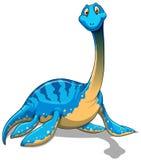 Cute long neck blue dinosaur on white Stock Photography