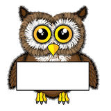 Cute looking owl holding a blank sign. Vector illustration of a cute looking owl holding a blank sign Royalty Free Stock Photo