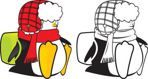 Cute looking school penguin coloring book. Illustration royalty free illustration