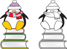Cute looking school penguin coloring book Royalty Free Stock Image