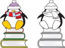Cute looking school penguin coloring book. Cute looking school penguin sitting on books coloring book illustration vector illustration